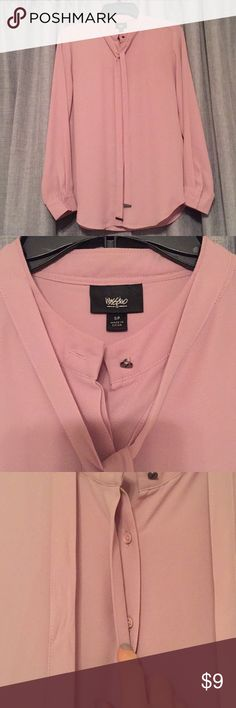 Gorgeous Dusty Pink Blouse with neck tie Super nice quality dressy blouse. Buttons up and has a pretty tie around the front. Can also wear it lose. Metal attachments at ends of tie weigh it down. Excellent for office work or under a suit. Very pretty untucked with a skirt. Mossimo Supply Co. Tops Blouses