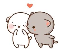 LINE Official Stickers - Mochi Mochi Peach Cat Sound Stickers Example with GIF Animation Cute Cartoon Images, Cute Couple Cartoon, Cute Love Cartoons, Cute Cartoon Wallpapers, Cute Love Pictures, Cute Love Gif, Cute Anime Cat, Cute Cat Gif, Cute Bear Drawings