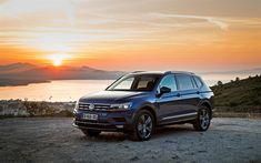 Download wallpapers Volkswagen Tiguan Allspace, 2017, crossover, new cars, blue Tiguan, German cars, Volkswagen
