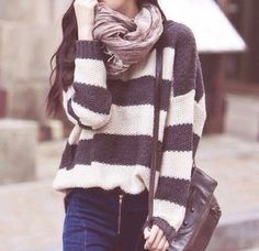 Striped sweater and jeans!