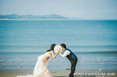 前撮り ロケーションフォト 海 カラードレス ウェディングフォト weddingphotography