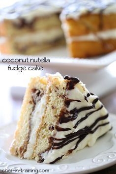 Coconut Nutella Fudge Cake from chef-in-training.com …This cake is AMAZING! So many great flavors wrapped up into one moist cake!