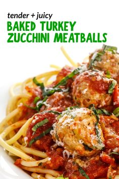 These juicy Baked Turkey Zucchini Meatballs are made with grated zucchini to create perfectly tender meatballs with an extra boost of fiber. Perfect for an easy weeknight dinner! Turkey Zucchini Meatballs, Baked Turkey, One Skillet Meals, One Pot Meals, Easy Weeknight Dinners, Quick Easy Meals, Good Healthy Recipes, Healthy Eats, Healthy Foods
