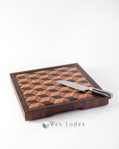 Large 3D End Grain Wood Cutting Board by WesLodesWoodworks on Etsy