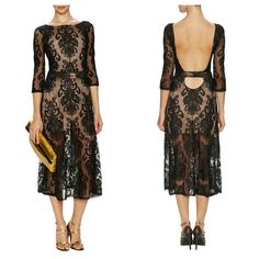 For Love & Lemons San Marcos Maxi Sheer mesh lace. Plunging open back with lower back band. Self-covered band defines natural waist. Wide neckline; three-quarter sleeves. Lightly gathered maxi skirt.Fluted hem falls above ankle. Hidden side zip.Cotton; nylon/spandex. Free People Dresses Maxi
