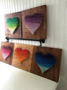 Colored Heart Gradient String Art Colored Heart Gradient String Art Creative Makeup Looks art Colored Gradient Heart setinstains String String Art Diy, String Art Heart, String Crafts, Fun Crafts, Crafts For Kids, Paper Crafts, Resin Crafts, Diy Arts And Crafts, Summer Crafts