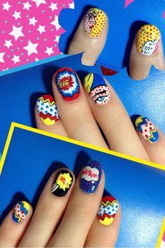 pop art comic nails                                                                                                                                                                                 More