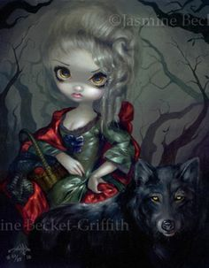 Loup Garou Red Riding Hood Jasmine Becket-Griffith CANVAS PRINT rococo wolf art