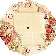 laminas shabby chic para imprimir - Buscar con Google Clock Art, Diy Clock, Clock Printable, Victorian Valentines, Vintage Sheets, Decoupage Paper, Vintage Crafts, Rose Design, Creations