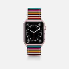 Leather Watch Band -  town stripe apple watch band
