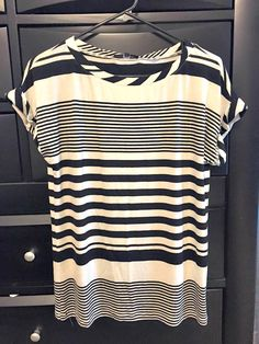Tart Maliah Striped Tee // Stripes! I really like how this has wide stripes and thin stripes. Also like the cuffed sleeves. And the fact that this can be easily be paired with a bold color cardigan.