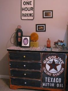 Keep his current dresser and paint night stands like this