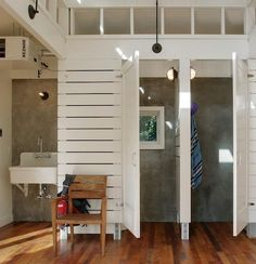 Closet, Dressing Room, Open Floor Plan, Locker Room, Stuff Organization, Bathroom