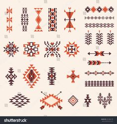 Discover thousands of images about Illustration of Native american navajo aztec pattern vector elemets design set vector art, clipart and stock vectors. Native American Patterns, Native American Symbols, Native American Design, Native Design, Indian Patterns, Tribal Patterns, American Indians, Tribal Tattoos Native American, Native American Paintings
