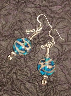 LAMPWORK Glass EARRINGS Handmade Blue Gold by LampworkWhimsyBM, $15.50