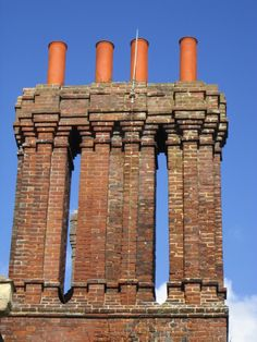 Lovely Tudor chimneys found on Southover House in the Southover Grange Gardens, Lewes, East Sussex, England
