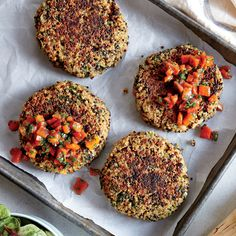 Spinach-Quinoa Cakes with Bell Pepper Relish | The quinoa mixture is very moist but will firm up beautifully in the oven. Press firmly when shaping the cakes, and be careful when transferring to the hot baking sheet. Place directly on pan for crispier cakes, or use parchment paper for quicker cleanup.