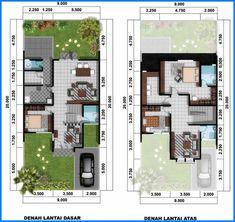 Denah Rumah Minimalis 2 Lantai 100 150 Dilengkapi 4 Kamar