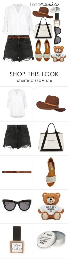 """Logomania!"" by alaria ❤ liked on Polyvore featuring River Island, Billabong, Alexander Wang, Balenciaga, H&M, Steve Madden, Le Specs, Moschino, ncLA and logomania"