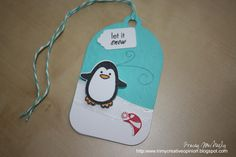 Cute tag idea - In My Creative Opinion: 25 Days of Christmas Tags - Winter Penguin 25 Days Of Christmas, Christmas Tag, Christmas Crafts, Xmas, Card Tags, Gift Tags, Cards, Bakers Twine, Copic Markers