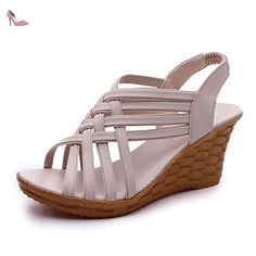 0d9005f6227b8d Cuculus 2018 ladies slippers Gladiator high heels wedges sandals shoes  women weaving TPR bottom comfortable lady shoes From Touchy Style Outfit  Accessories