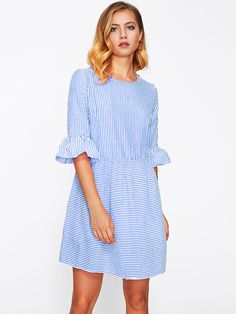 Shop Ruffle Sleeve Striped Dress online. SheIn offers Ruffle Sleeve Striped Dress & more to fit your fashionable needs.