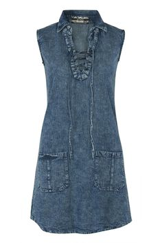 Lace Up Front Shift Denim Dress in Denim