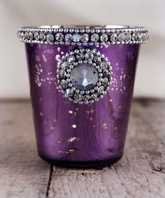Purple Mercury Glass 3 in. Votive Holder with Glass Rhinestones $4.99 each / 6 for $4