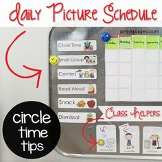 How to use a picture schedule to create smooth transitions and establish solid routines and procedures in your Preschool, Kindergarten, or Pre-K classroom. Circle Time Activities, Kids Learning Activities, Kindergarten Activities, Language Activities, Preschool Routine, Free Preschool, Preschool Ideas, Classroom Pictures, Kindergarten Classroom