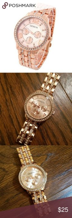 GENEVA Rose Gold Crystal Inlaid Watch NEW NEW, Plastic cover still intact on face of watch! Rose Gold Color Gorgeous Bling!   Bundle and Save  Please chk out my other listings  Thank you! Please Follow! Adding lots of new items!  ~~~ Lots of VS PINK, Boutique Clothing, High end makeup, Shoes, Boots, etc & so much more to list!!! So please don't forget to follow! ~~~ Geneva Accessories Watches