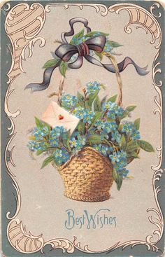 Basket of Beautiful Forget-Me-Nots on 1910 Best Wishes Postcard picclick.com