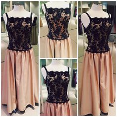 Gold silk-satin ball gown with black lace top.