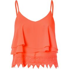 Orange Lace Cropped Cami Top found on Polyvore