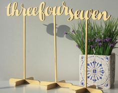Sale 10 Table Numbers. Wood Table Numbers.Gold Table Numbers.SALE Gold Table Numbers with base.Wedding Numbers.