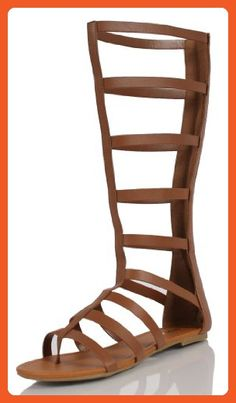 Women's Bappy Faux Leather Cut Out Gladiator Knee High Sandals  Dark Tan 55 M US
