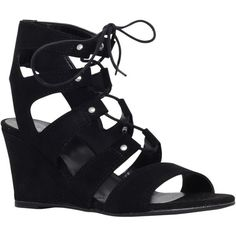 Carvela Khristie Lace Up Wedge Heeled Sandals , Black Suede ($135) ❤ liked on Polyvore featuring shoes, sandals, black suede, flat sandals, wedge sandals, low heel wedge sandals, black wedge shoes and black lace up sandals