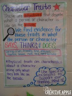Character Traits – The Creative Apple Teaching Resources Character Traits – The Creative Apple Teaching Resources,language arts Character Traits – The Creative Apple Teaching Resources More Related posts:Minute Meeting for the School Counselor -. Reading Lessons, Reading Skills, Teaching Reading, Guided Reading, Learning, Ela Anchor Charts, Reading Anchor Charts, Third Grade Reading, Middle School Reading