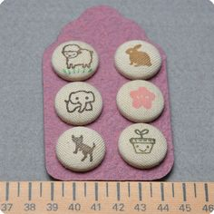 Hand-Stamped fabric covered buttons