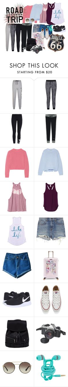 """""""Roud Trip Luggage"""" by clairebearcool ❤ liked on Polyvore featuring NIKE, Splendid, adidas Originals, Victoria's Secret, Miu Miu, Acne Studios, RVCA, Alexander Wang, Ted Baker and Converse"""