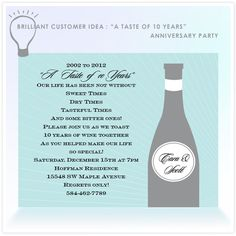 "Brilliant Customer Idea: ""A Taste of 10 Years"" Anniversary Party. Feb 2014!!! Will start planning ahead."