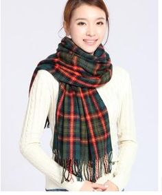 New Autumn Women Scarf fashion Style Multicolor Plaid Patchwork Color Tassel Scarves Wool Wraps AcrylicApparel Accessories Rayon