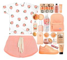 """""""Peachy Screams"""" by ladyvalkyrie ❤ liked on Polyvore featuring Eberjey, philosophy, Essie, Herschel Supply Co., NIKE, MANGO, H&M, Shakuhachi, The Body Shop and Topshop"""