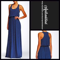"""Michael Stars Blouson Striped Maxi Dress RETAIL PRICE: $98  NEW WITH TAGS  Blouson Maxi Dress     * A blouson top, fit-and-flare style * Incredibly soft & comfy stretch to fit fabric. * Scoop neck & elasticized waist.  * Allover striped print. Party , cocktail * About long 60"""" long.  Fabric: 43% supima, 43% Modal & 14% polyester; Machine wash. Made in the USA.  Color: Nocturnal blue & Ivory  Item:  No Trades ✅ Offers Considered*✅ Bundle Discounts ✅ *Please use the blue 'offer' button to…"""