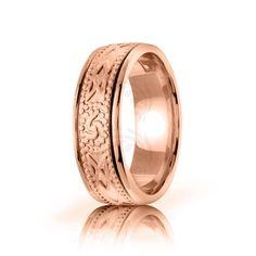 10k Rose Gold Celtic Triple Spiral Wedding Band Polish 8mm 01657
