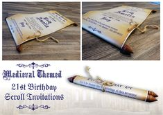 Make your guests feel like lords and ladies with these brilliantly designed medieval themed scroll invitations. People will be losing their heads just to get their gauntlets on one.