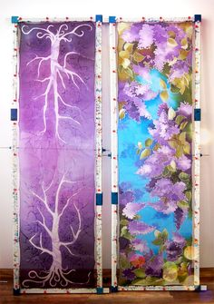 Silk scarfs in purple - violet drying up at my studio in Cracow ;) Purple Sky White Tree and Lilac scarf are both at my Etsy shop: www.minkulul.etsy.com #minkulul #silkscarf
