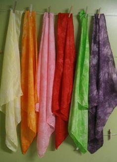 dye play silks with kool-aid  http://www.artfulparent.com/2008/03/dyeing-playsilks-with-kool-aid.html