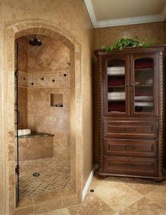 Shower Tile Design, Love the corner shower design! Shower Remodel, Bath Remodel, Dream Bathrooms, Beautiful Bathrooms, Master Bathrooms, White Bathrooms, Luxury Bathrooms, Bathroom Linen Cabinet, Linen Cabinets