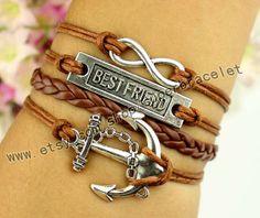 Anchor bracelet best friend bracelet infinity by superbracelet, $4.99
