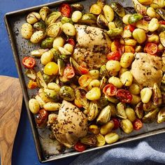 In this healthy dinner recipe, chicken thighs, Brussels sprouts, cherry tomatoes and packaged gnocchi are all roasted on the same sheet pan for a complete meal that couldn't be easier to make. Easy Mediterranean Diet Recipes, Mediterranean Chicken, Mediterranean Style, Healthy Dinner Recipes, Cooking Recipes, Healthy Breakfasts, Healthy Smoothie, Gnocchi Recipes, Anti Inflammatory Recipes